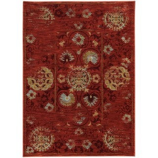 Distressed Oriental Red/ Gold Rug (6'7 X 9'6)