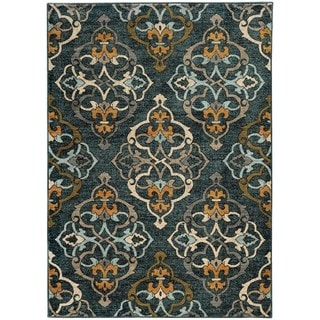 Oranate Quatrefoil Blue/ Gold Rug (5'3 X 7'6)
