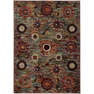 Multi Floral Multi-colored Rug (5'3 X 5'5)