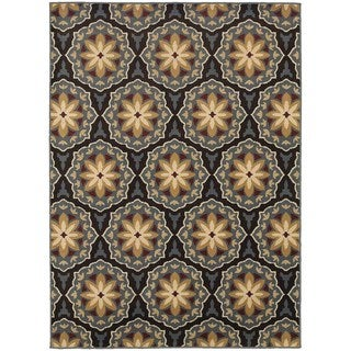 Floral Panel Blue/ Brown Rug (6'7 X 9'3)