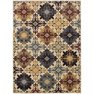 Floral Cross Panel Ivory/ Multi Rug (6'7 X 9'3)
