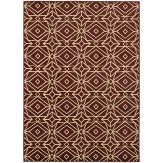 Diamond Geometric Red/ Ivory Rug (6'7 X 9'3)