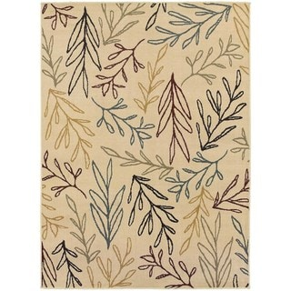 Line Drawn Leaf Ivory/ Multi Rug (6'7 X 9'3)