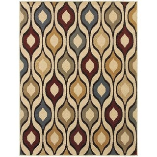 Odgee Design Ivory/ Multi-colored Rug (5'3 x 7'3)