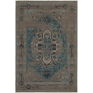 Traditional Distressed Overdyed Persian Grey/ Blue Rug (1'10 x 3'3)