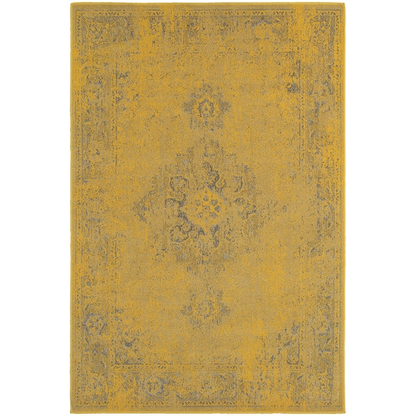 Traditional Distressed Overdyed Persian Yellow/ Grey Rug (1'10 x 3'3)