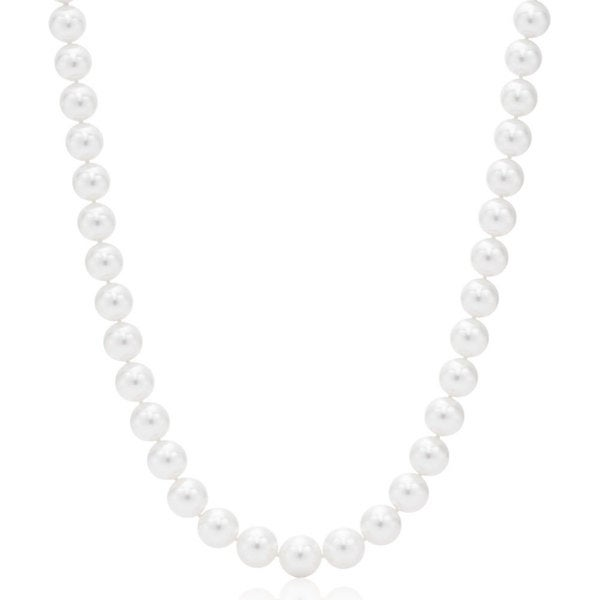 Suzy Levian 14k White Gold White Freshwater Pearl Necklace (12mm)