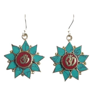 Floral Turquoise Om Earrings (Nepal)