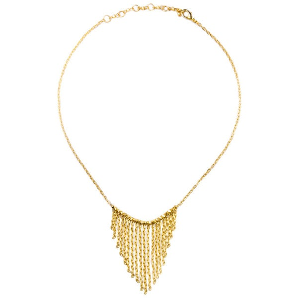 Gold-toned Fringe/ Chain Necklace (China)