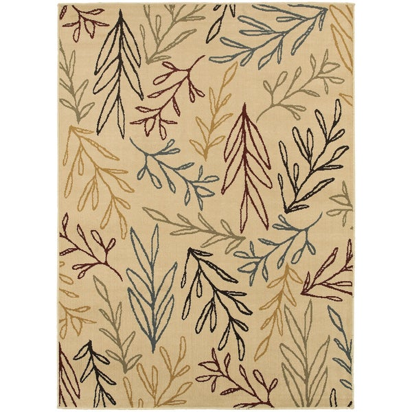 Line Drawn Leaf Ivory/ Multi-colored Rug (1'10 x 2'10)