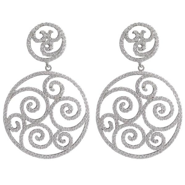 Sterling Silver Cubic Zirconia Filigree Swirl Open Circle Dangle Earrings