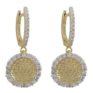 Gold Finish Sterling Silver Cubic Zirconia Two-tone Hammered Round Circle Drop Earrings