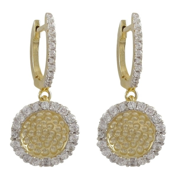 Luxiro Gold Finish Sterling Silver Cubic Zirconia Two-tone Hammered Round Circle Drop Earrings