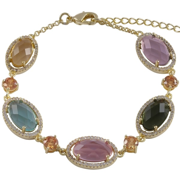 Luxiro Goldtone Multi-colored Oval Glass Cubic Zirconia Halo Bracelet 14970900