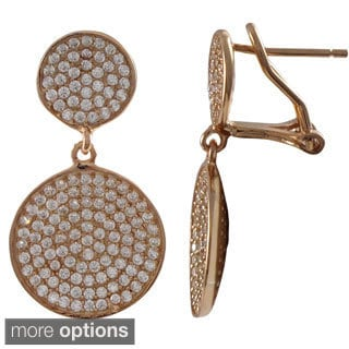 Luxiro Sterling Silver Pave Cubic Zirconia Graduated Round Disc Dangle Earrings