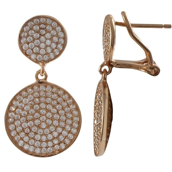 Sterling Silver Pave Cubic Zirconia Graduated Round Disc Dangle Earrings