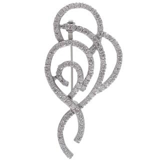 Sterling Silver Cubic Zirconia Filigree Ribbon Pin Brooch