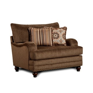 Furniture of America Armande Transitional Style Brown Wide Arm Chair