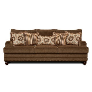 Furniture of America Armande Transitional Style Brown Sofa