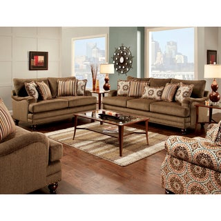 Furniture of America Armande 2-Piece Transitional Style Brown Sofa Set