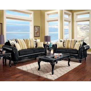 Furniture of America Estone 2-Piece Black Transitional Sofa Set