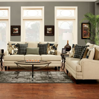 Furniture of America Ivelina Contemporary 2-Piece Ivory Sofa Set