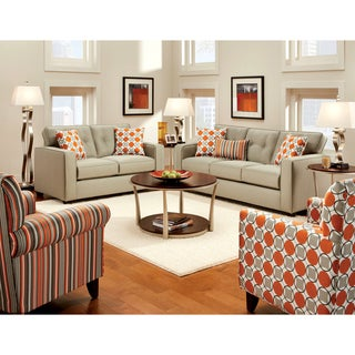 Furniture of America Dollee Contemporary 2-piece Beige Sofa Set