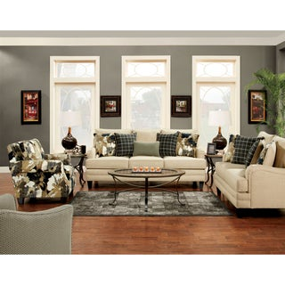 Furniture of America Ivelina Contemporary 3-Piece Ivory Sofa Set