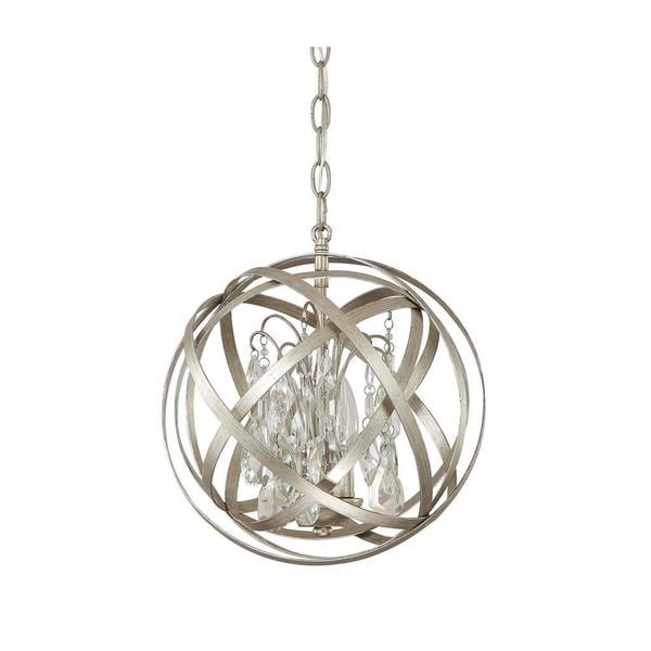 Capital Lighting Axis Collection 3 Light Winter Gold Orb Pendant With Crystals 17095253