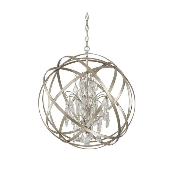 Capital Lighting Axis Collection 4 Light Orb Pendant In Winter Gold With Crystal 17095256