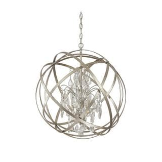 Capital Lighting Axis Collection 4-light Orb Pendant in Winter Gold with Crystal