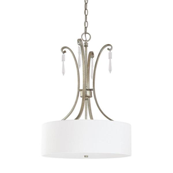 Capital Lighting Simone Collection Three Light Painted Winter Gold Pendant With Crystal