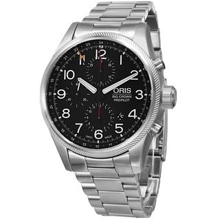 Oris Men's 677 7699 4164 MB 'Big Crown' Black Dial Stainless Steel GMT Multifunction Automatic Watch