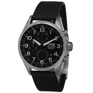 Oris Men's 677 7699 4164 LS1 'Big Crown' Black Dial Black Fabric Strap Chronograph Automatic Watch