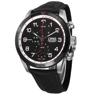 Oris Men's 774 7661 4484 SET 'Audi' Black Dial Black Leather Strap Chronograph Watch