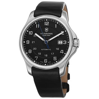 Swiss Army Men's V241670 'Oficers' Black Dial Black Leather Strap Automatic With Pocket Knife Watch