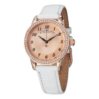 Stuhrling Original Women's Symphony Swiss Quartz Crystal Leather Strap Watch