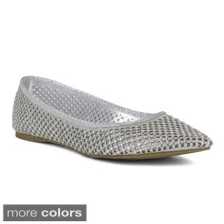 Celeste Women's Angie-07 Rhinestone Perforated Flats