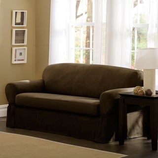 Maytex Faux Suede Stretch Two Piece Loveseat Slipcover