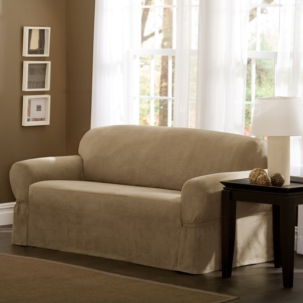 Maytex Faux Suede 1 Piece Sofa Or Loveseat Slipcover