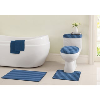 VCNY Addie 6-piece Bath Mats and Toliet Cover Set with Bonus Bathtub Appliques