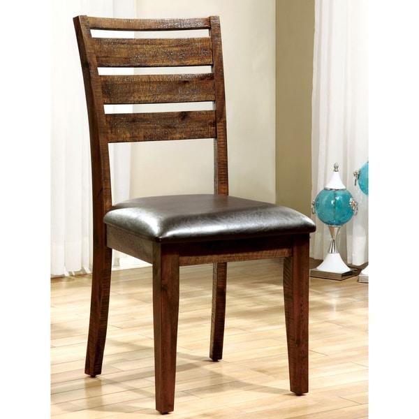 Furniture of America Tobiath Rustic Dark Oak Dining Chair (Set of 2) 14972251