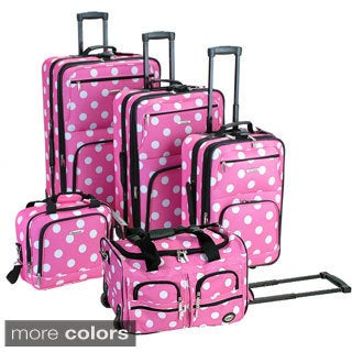 Rockland Polka Dot 5-piece Expandable Rolling Upright Luggage Set