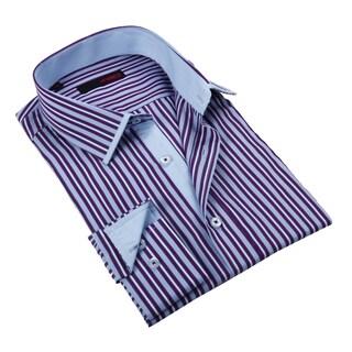 Ungaro Men's Purple and Blue Fashion Cotton Dress Shirt