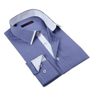 Ungaro Men's Blue and White Mini Checkered Cotton Dress Shirt