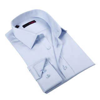 Ungaro Men's Solid Blue Cotton Dress Shirt