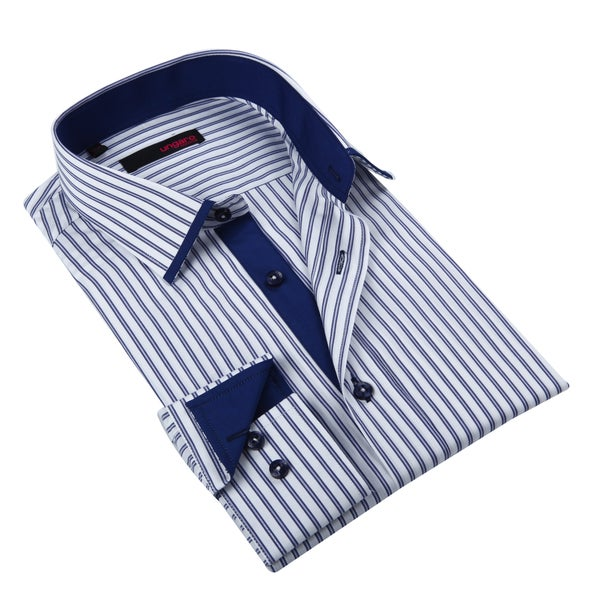 Ungaro Men's Cobalt Blue Striped Cotton Dress Shirt