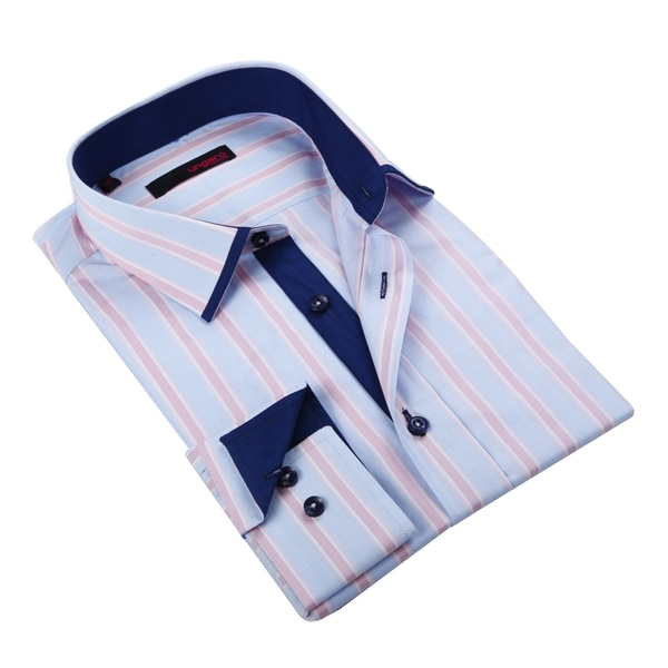 Ungaro Men's Pastel Blue and Pink Striped Cotton Dress Shirt