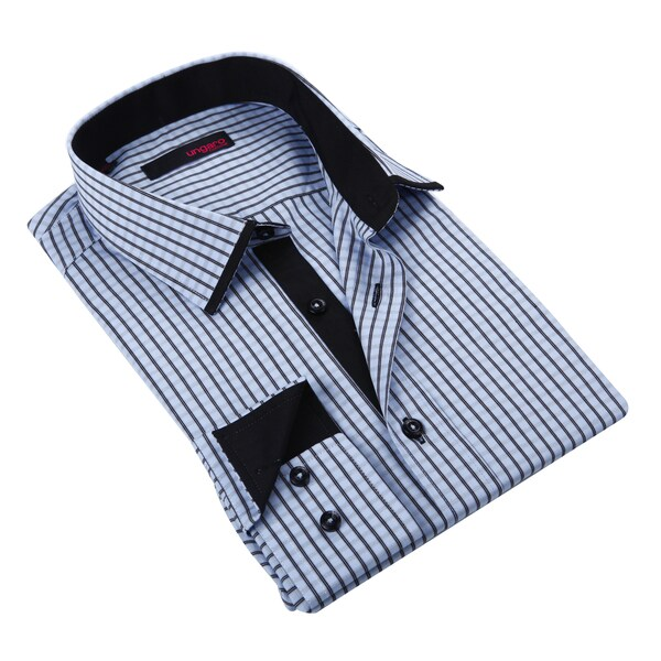 Ungaro Men's Black and White Check Cotton Dress Shirt