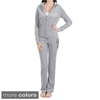 Tabeez Women's Diamond Cross Embellished Velour Track Suit